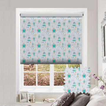 Robots Patterned Premium Blackout Roller Blind in Robots